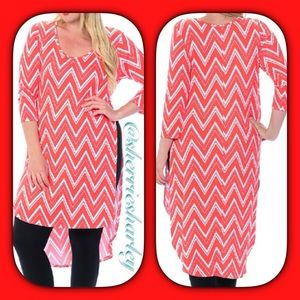 Bellino Clothing Tops - ✴️Plus Size 2X Coral Aztec Tunic Dress NWT