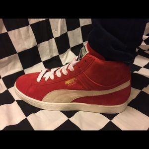 Puma Shoes   Red High Top Pumas   Poshmark