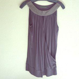 Velvet Tops - Velvet sleeveless rayon top with beaded accent