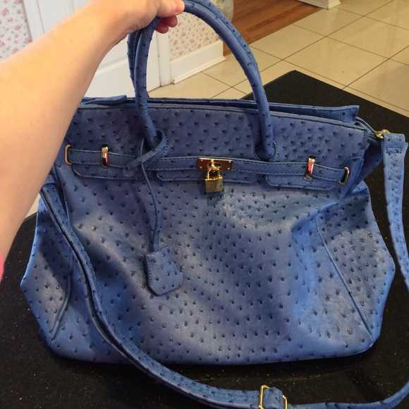 c16c0af1eafa JustFab Handbags - Blue Ostrich Bag.