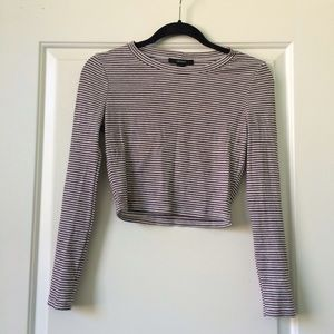 Forever 21 Striped Long Sleeve Crop Top