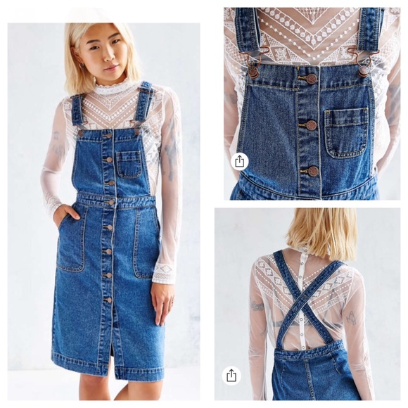 3a04462246 Urban Outfitters Dresses | Bdg Cora Denim Overall Midi Dress | Poshmark