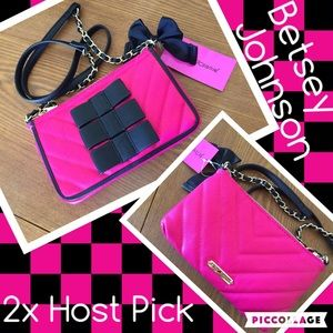 Betsey Johnson NWT black tie crossbody 