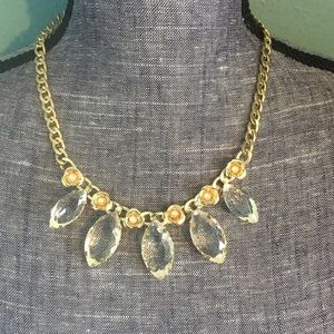 1 left! Teardrop Rosette Statement Necklace Golden