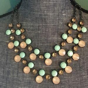 Boutique Jewelry - 1 left! Gunmetal Statement Necklace Peach & Mint