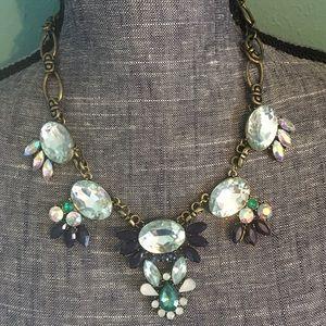 Garden Statement Bib Necklace Blue Green Brass