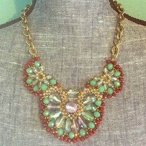 Woven Crystal Beaded Bib Statement Necklace Brass
