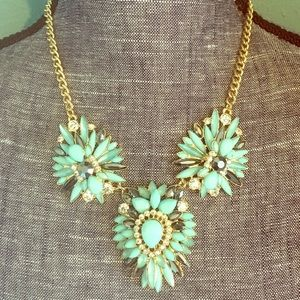 Mint Gunmetal Flower Rhinestone Statement Necklace