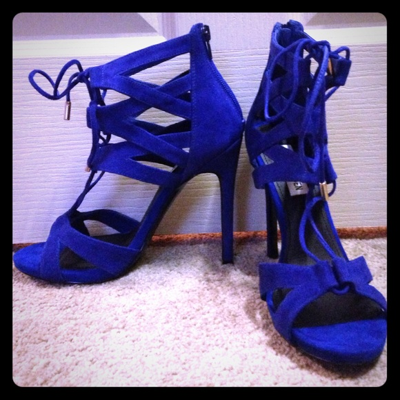 68% off Steve Madden Shoes - stunning royal blue lace up heels ...