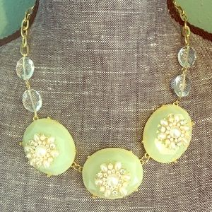 Boutique Jewelry - Mint & Pearl Rhinestone Statement Necklace Gold