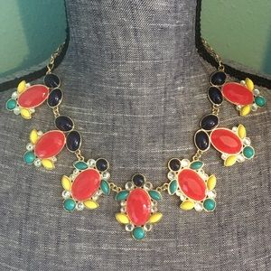 Boutique Jewelry - Colorful Bold Statement Spring Necklace Red Blue