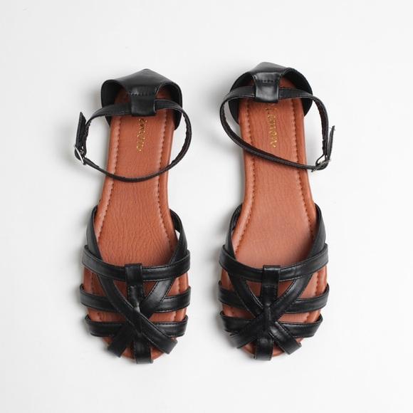 57bb0ed5b39 Black Woven D'Orsay 2 Piece Huaraches Sandals NWT