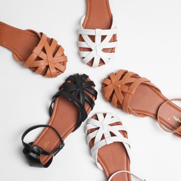 4e75b1028813 Cognac Faux Leather Woven Huaraches Sandal Flats