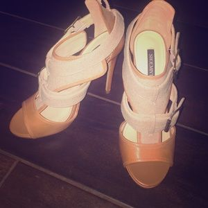 "Cognac ""Brenda"" heels from Shoemint. Size 6.5"