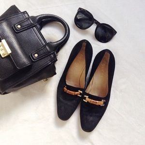 {Gucci} Black Bamboo Suede Heeled Loafers