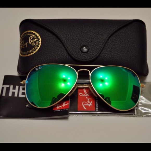 4a6561dcbb RAY BAN Rb3025 green mirror lens 58mm Aviator gold