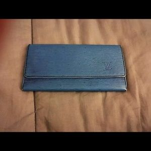 Vintage Louis Vuitton blue Epi long wallet