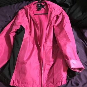 Jackets & Blazers - Pink and black large rain jacket