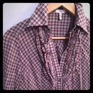 Joie Western Shirt with Ruffle Front