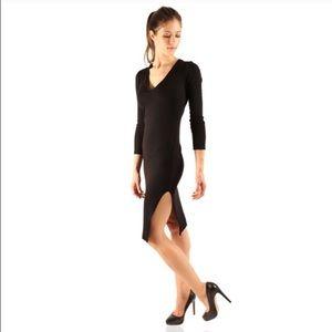 Black side slit ribbed dress- AMAZING