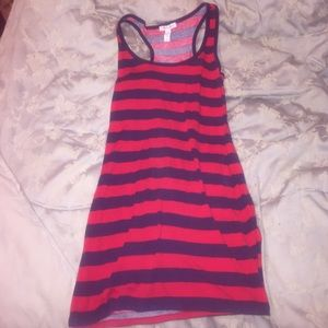 Striped Navy blue and red dress