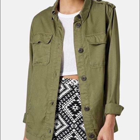 elegant shoes buy good half price Topshop green military style army green jacket