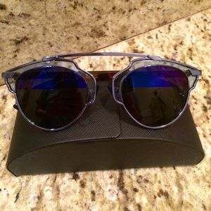 Accessories - Blue frame sunglasses with brown tort details
