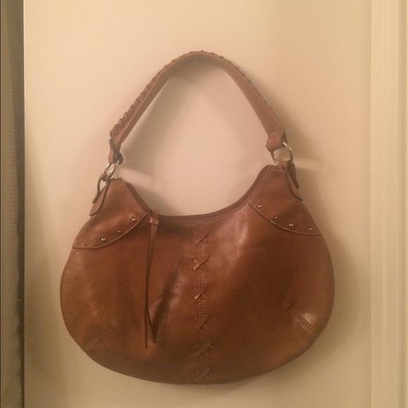 0623116517589 Brown leather Nine West purse bag braided handle