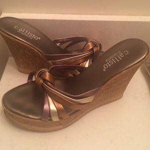 Callisto  Shoes - Callisto metallic brown wedges