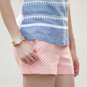 {j.crew} scallop hem polka dot shorts