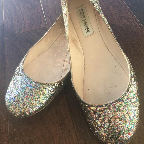 db7b45c404b4a Steve Madden Shoes | Glitter Ballet Flats Size 80 | Poshmark