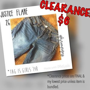"""Justice Other - 🆑Justice distressed flare/bootcut jeans 14R 26"""""""
