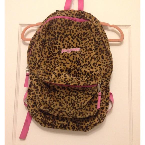 67% off Jansport Handbags - Jansport Leopard Print Backpack from ...