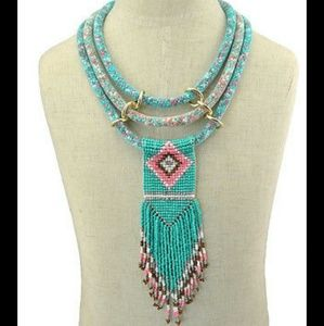 Jewelry - 🎉HP🎉 Turquoise Beaded Tassel Boho Necklace