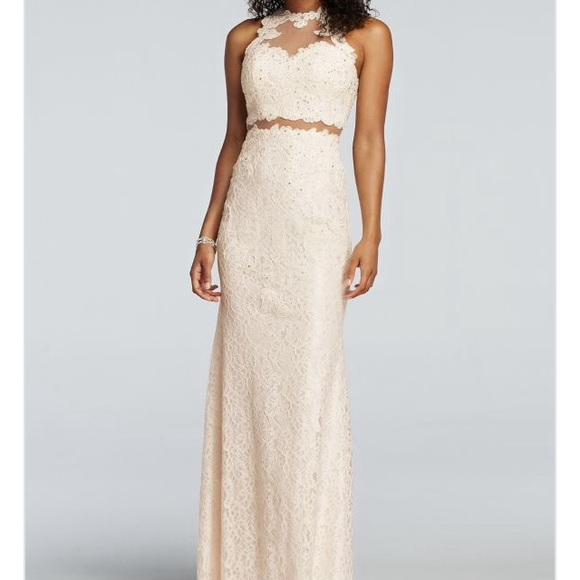 David\'s Bridal Dresses | Whiteivory High Neck Lace Long Prom Dress ...