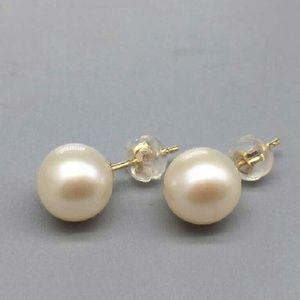 9MM freshwater pearl 18K Gold stud earrings