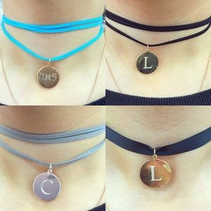Jewelry - Personalized choker suede engrave disc initial NWT