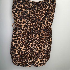 Leopard Print Strapless Romper