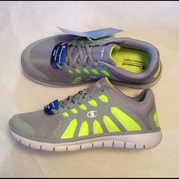 166a93397864 Champion Running Sneakers Gray Lime size 7.5 New