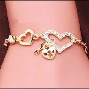Jewelry - Gold and Rhinestone ❤️ Charm Bracelet