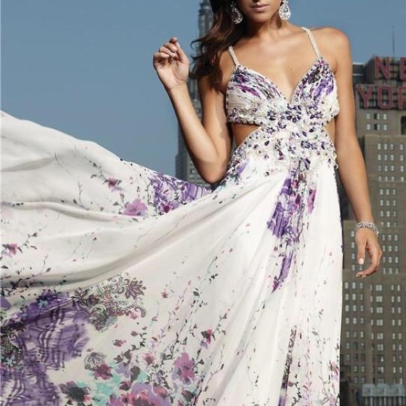 Terani Couture Dresses | Purple And White Prom Dress | Poshmark
