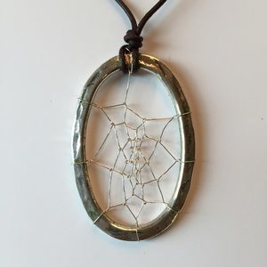 Jewelry - Handmade Spiderweb Leather Silver Necklace