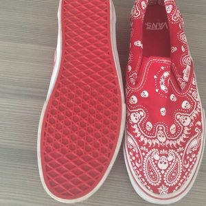 red bandana slip on vans