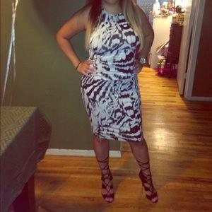 EXPRESS body con animal print dress