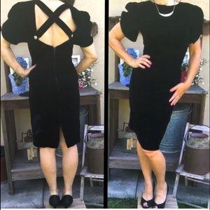 VINTAGE VELVET 80s Dress w/ Open Back