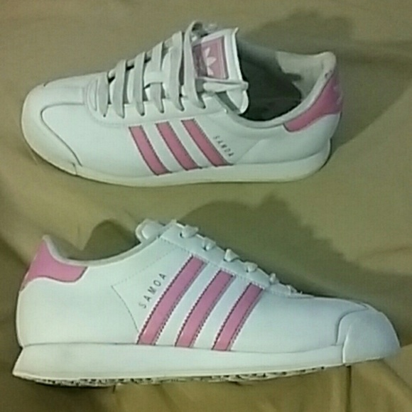 Adidas Samoa Pink and White Striped Shoes Women's