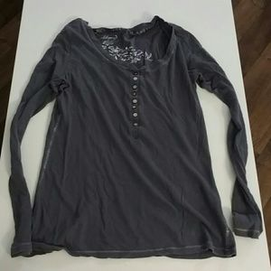Old Navy Tops - Dark Gray Henley