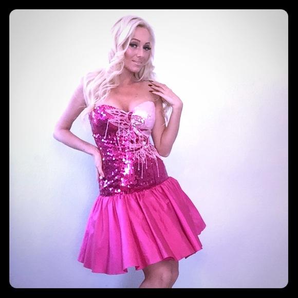 Dresses & Skirts | Vintage Barbie Pink 80s Style Party Dress | Poshmark
