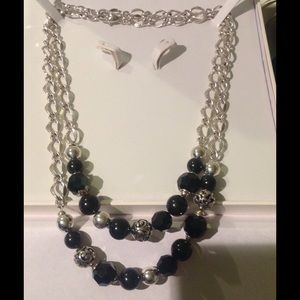 Brighton Jewelry - Brighton Chic Black and Silver Long Necklace