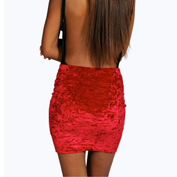 29% off Boohoo Dresses & Skirts - Boohoo Bright Red Velvet Pencil ...